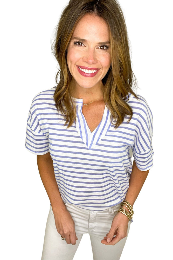 indigo and white stripe v neck knit top, white skinny jeans, spring tops, affordable style, shop style your senses by mallory fitzsimmons
