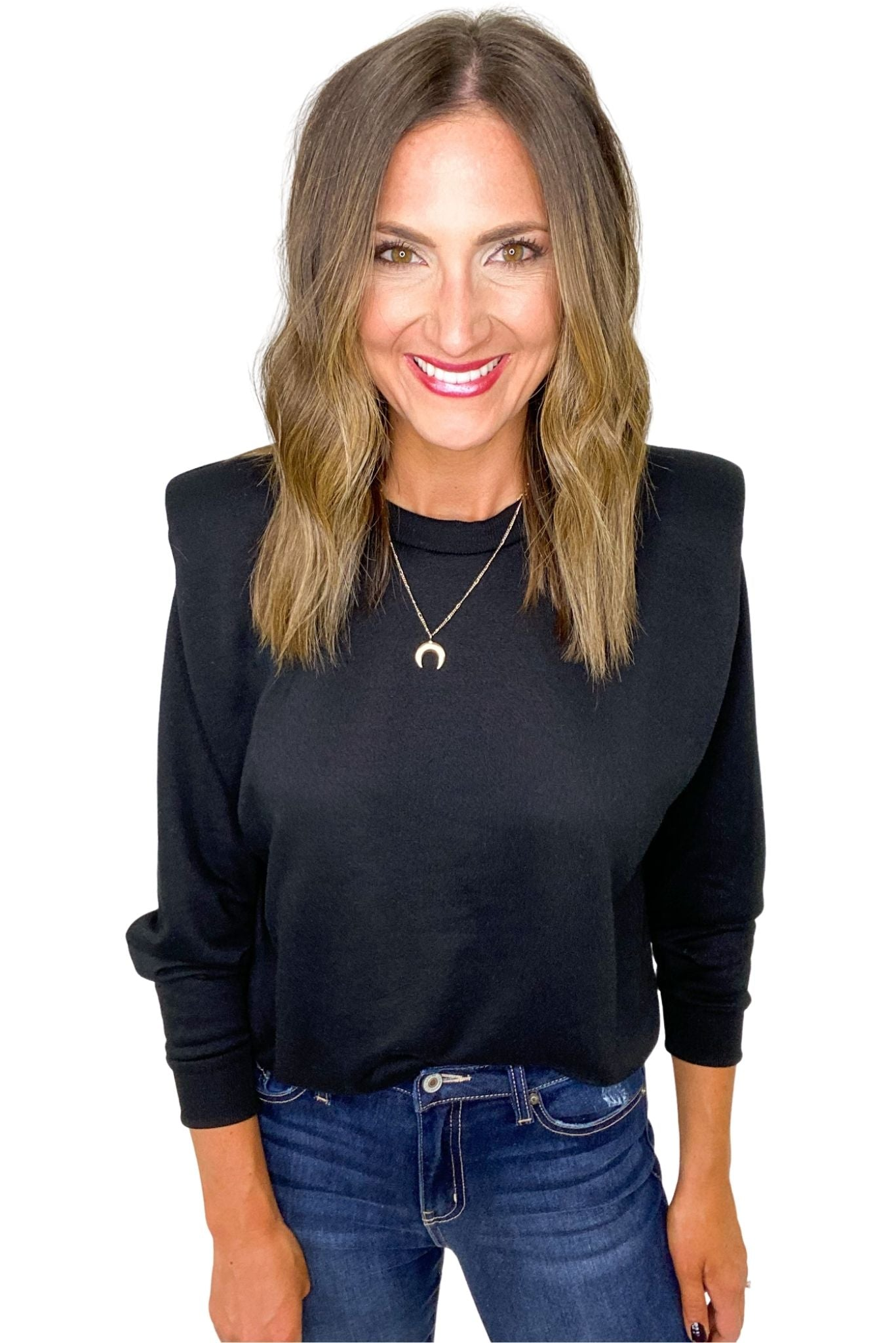 Black Long Sleeve Top w/ Shoulder Pads
