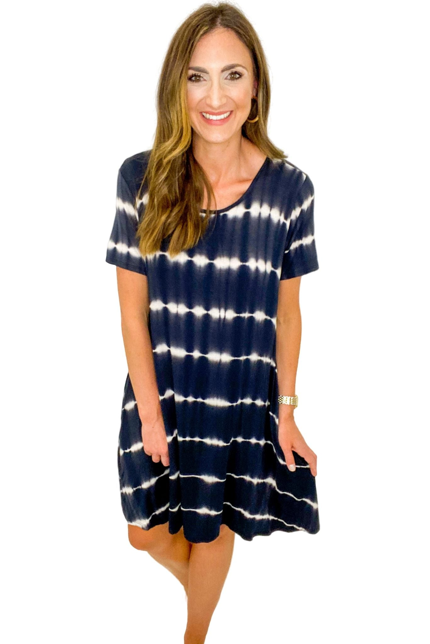 Black and White Short Sleeve Tie Dye Dress