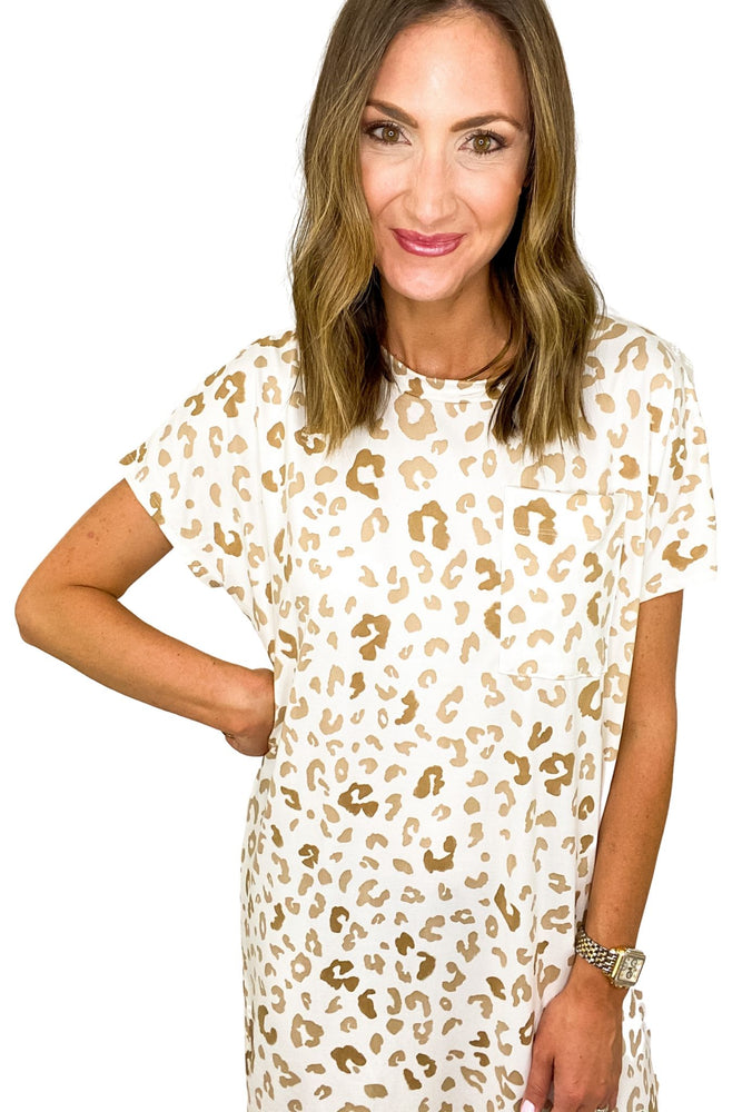 White Animal Print Hi Low Knit Dress