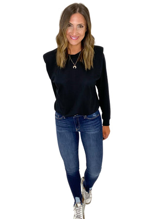 Black Long Sleeve Top w/ Shoulder Pads *FINAL SALE*