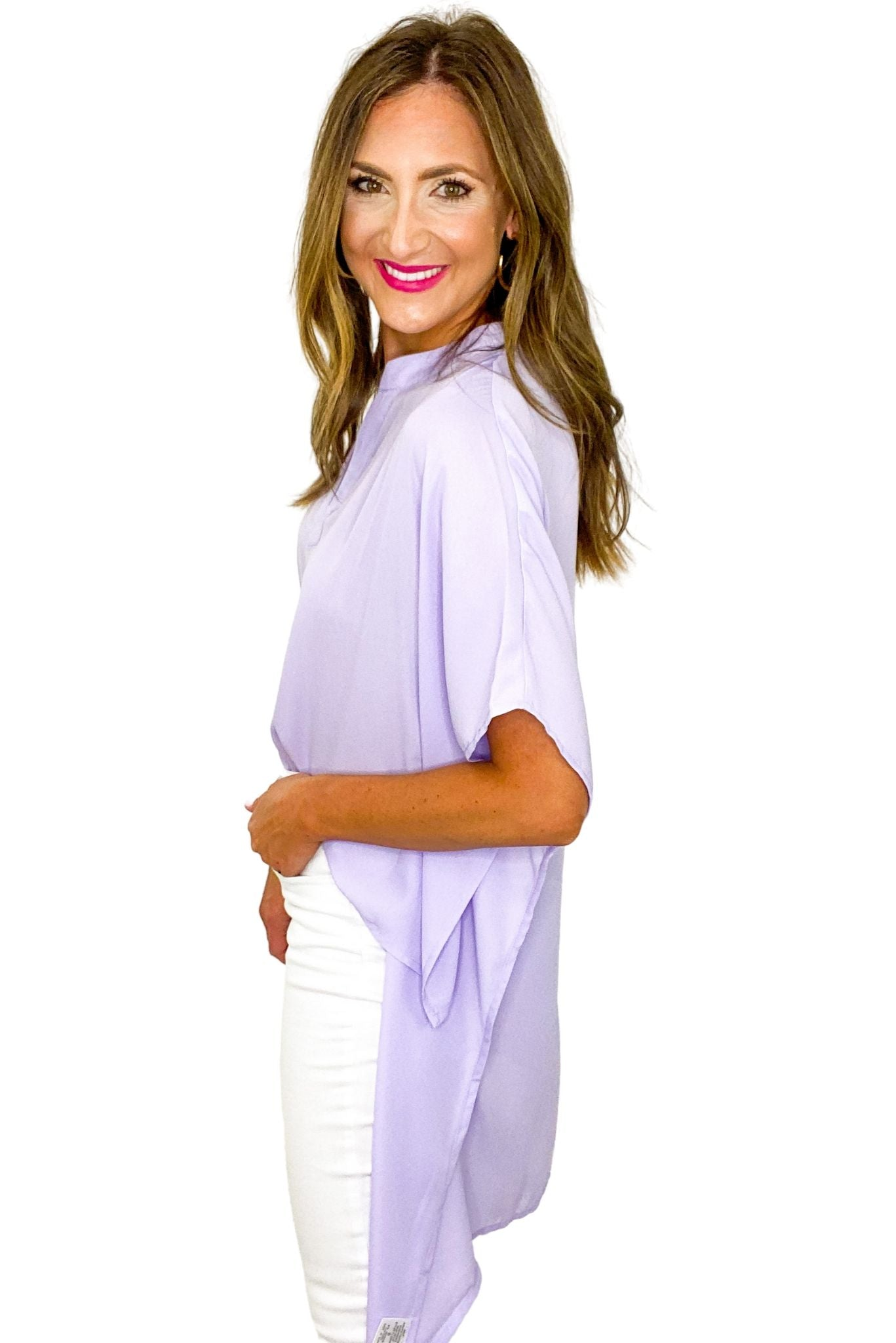 Lavender Hi Low V Neck Top *FINAL SALE*