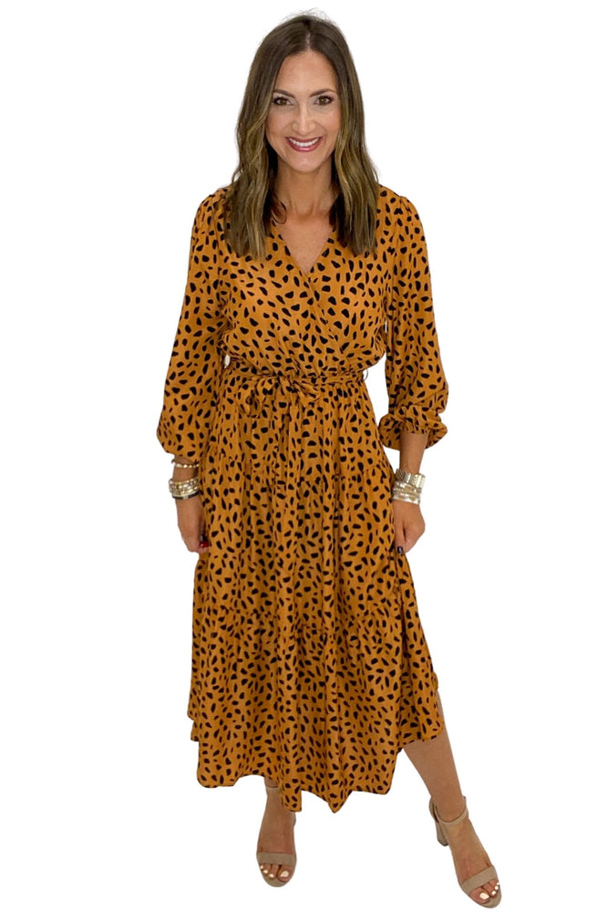 Load image into Gallery viewer, Rust Spotted Long Sleeve Wrap Dress *FINAL SALE*