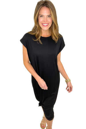 black short sleeve midi dress, spring dresses, affordable style, shop style your senses by mallory fitzsimmons