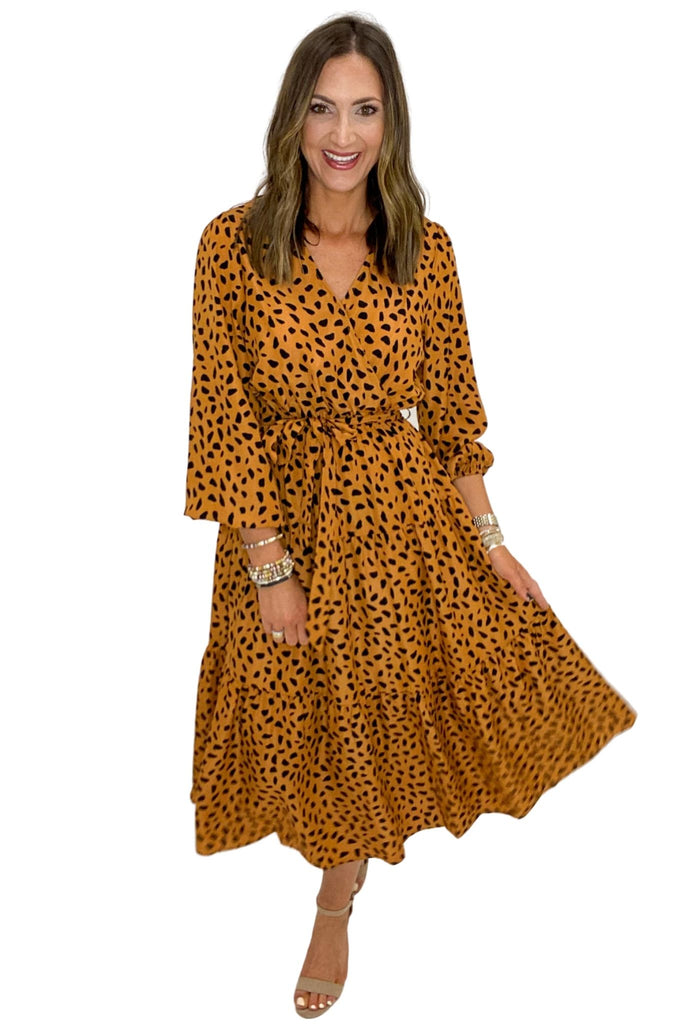 Rust Spotted Long Sleeve Wrap Dress