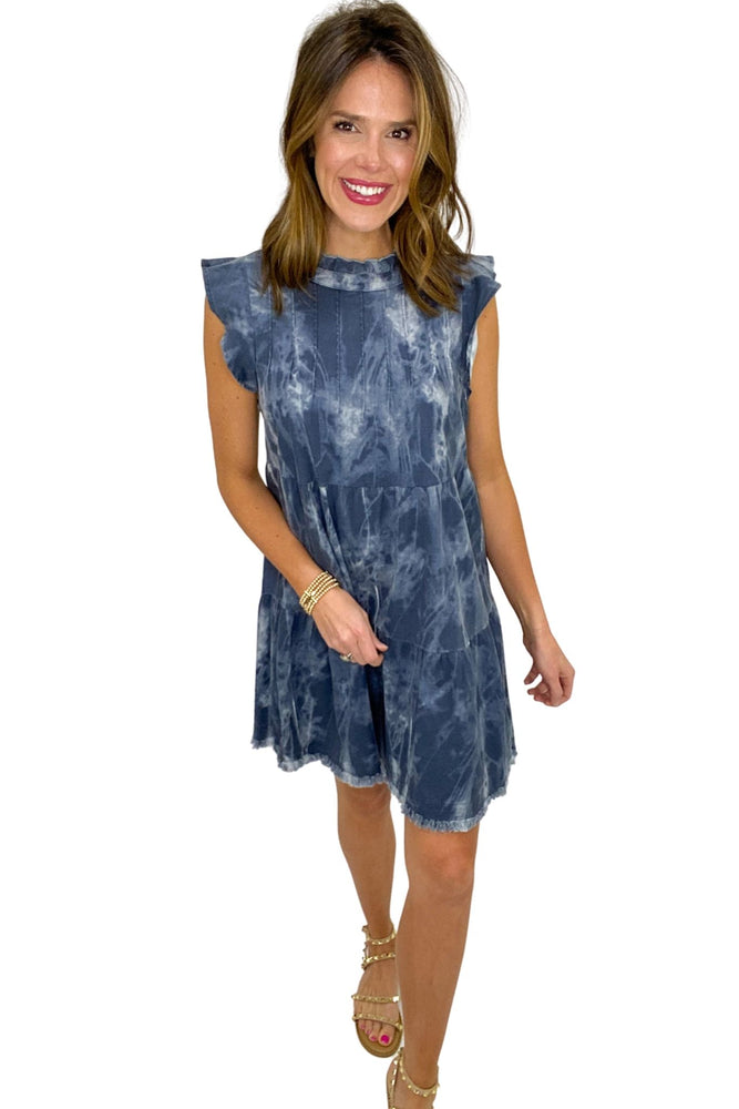 navy tie dye tiered flutter sleeve dress, spring dresses, studded sandals, affordable fashion, shop style your senses by mallory fitzsimmons