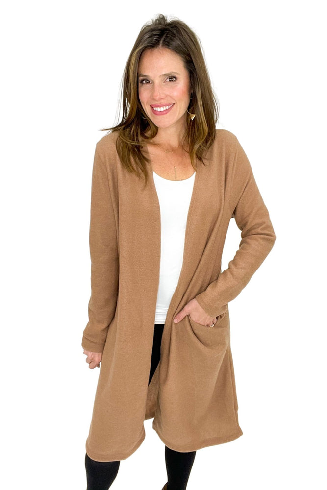camel cozy long cardigan, winter wear, shop style your senses by mallory fitzsimmons