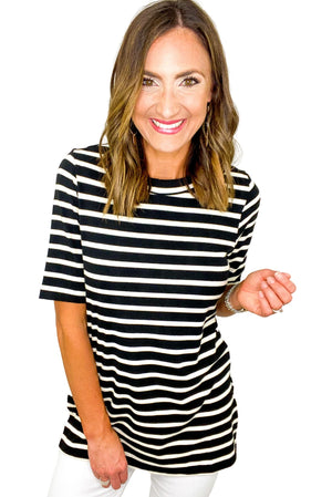Black and White Stripe Side Slit Short Sleeve Top *FINAL SALE*