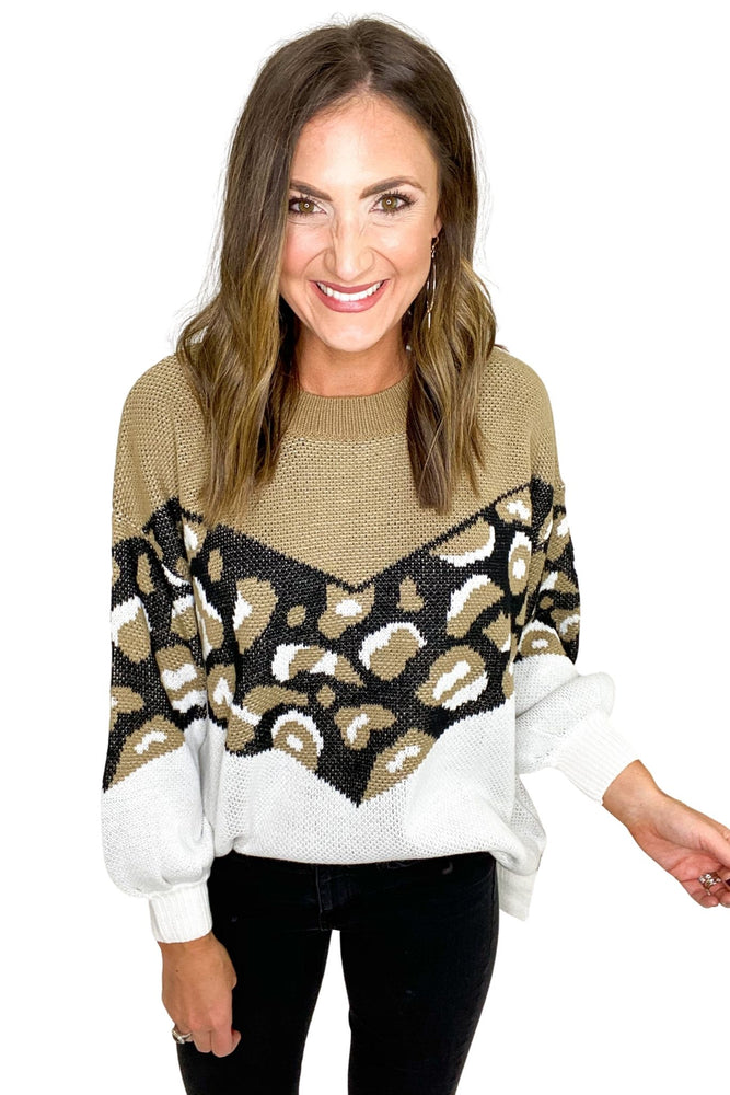 Taupe Oversized Print/Color Block Pullover