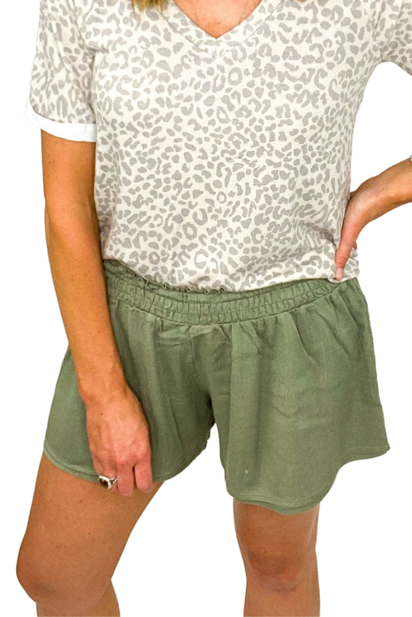 Olive Smocked Waist Double Layer Shorts *FINAL SALE*