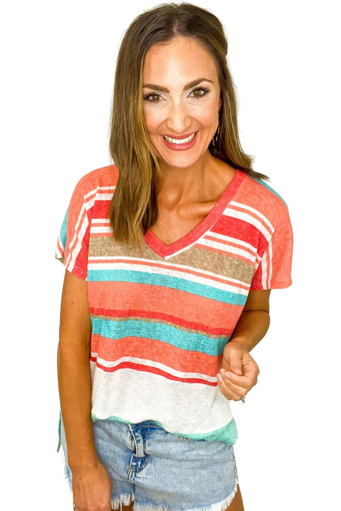 Color Block V Neck Stripe Top