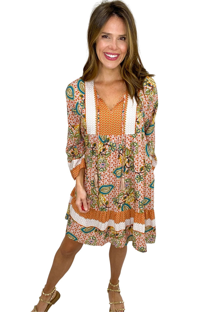 orange mixed print long sleeve boho dress, spring dresses, studded sandals, shop style your senses by mallory fitzsimmons