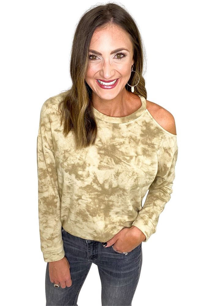Taupe Tie Dye One Shoulder Cut Out Top *FINAL SALE*