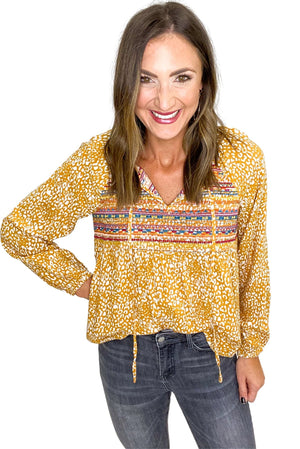 Marigold Animal Print Top w/ Embroidery