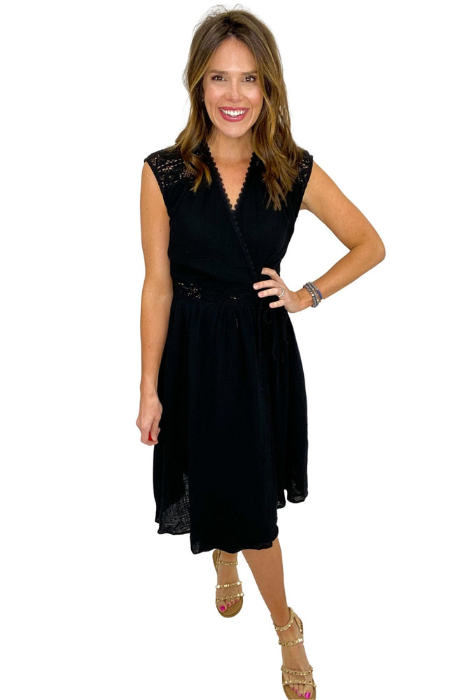 black crossover dress with crochet shoulders, spring dresses, studded sandals, affordable style, shop style your senses by mallory fitzsimmons