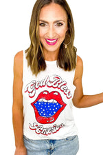 White God Bless America Graphic Tank