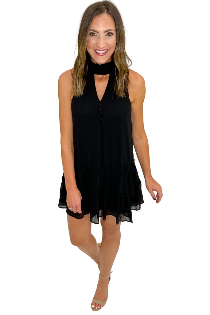 Black Turtleneck Dress w/ Keyhole Cutout