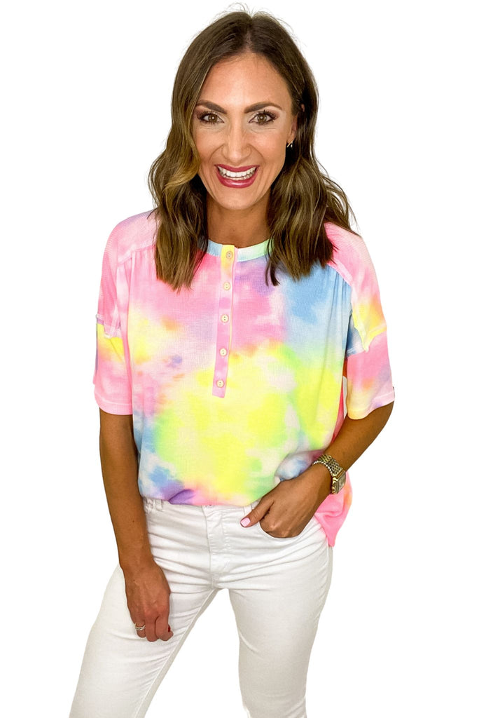 Rainbow Tie Dye Oversized Henley Top