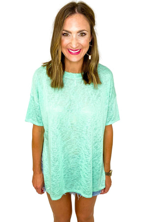 Mint Side Slit Slub Knit Top *FINAL SALE*