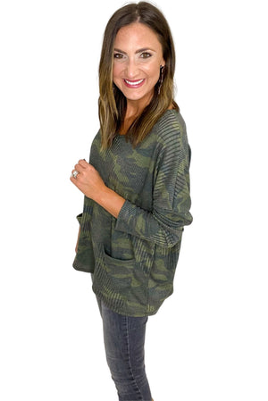 Load image into Gallery viewer, Camo V Neck Dolman Tunic w/ Pockets