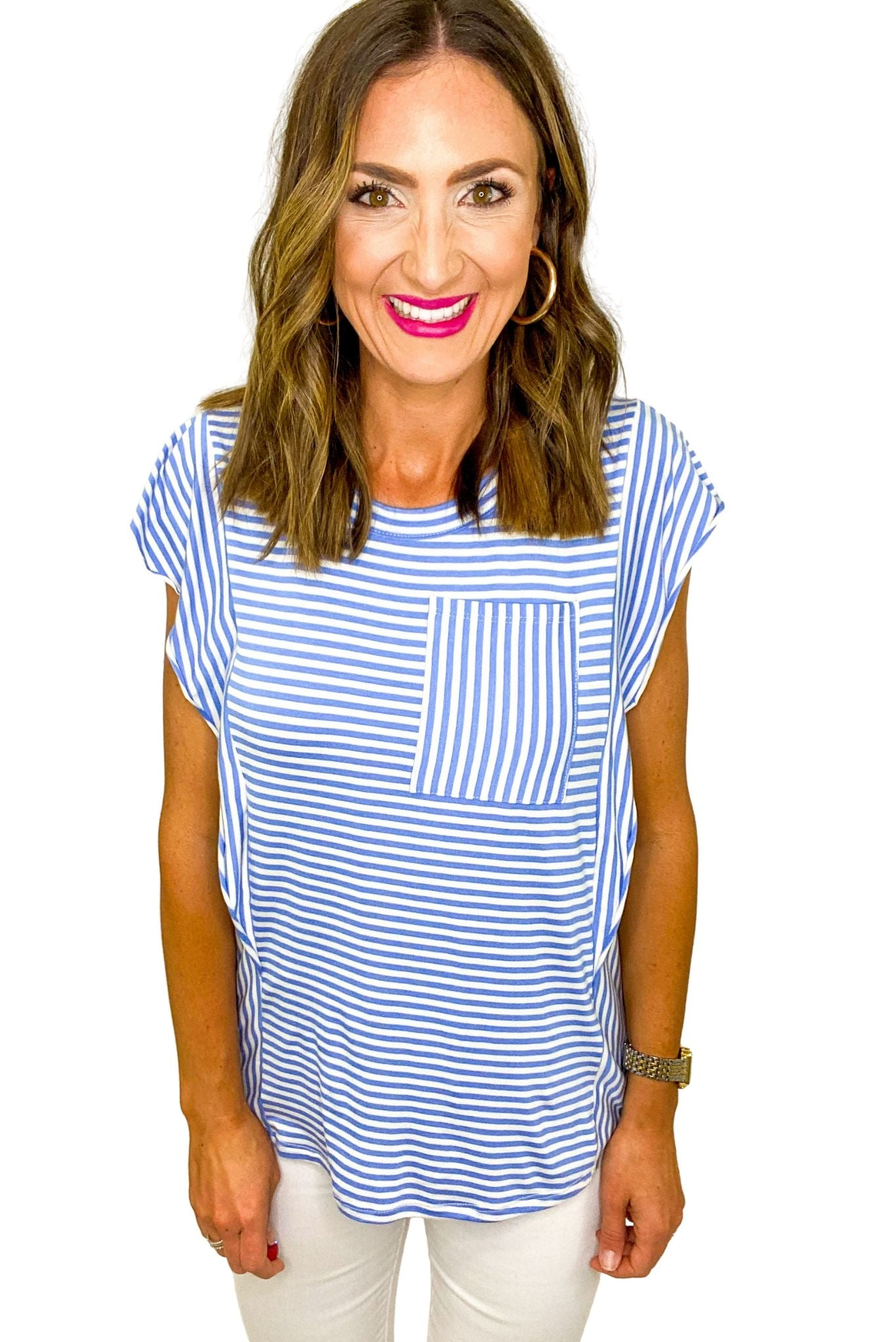 Blue and White Stripe Extended Trim Top *FINAL SALE*