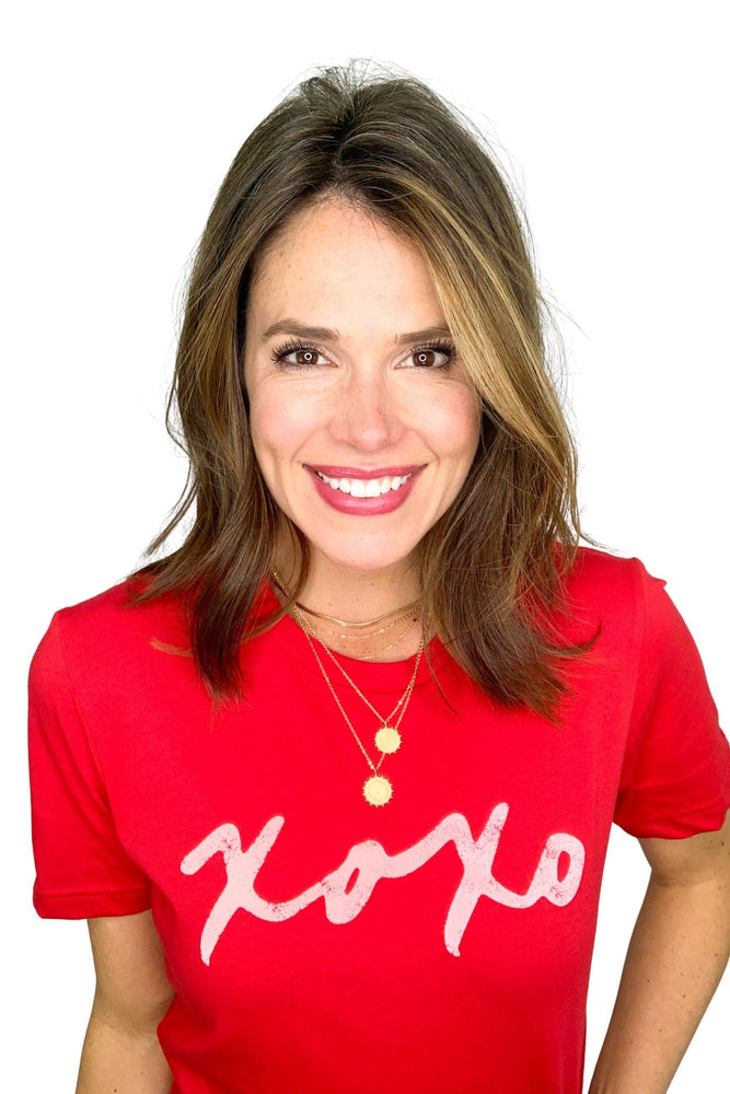 red xoxo graphic tee, valentines day style, shop style your senses by Mallory Fitzsimmons