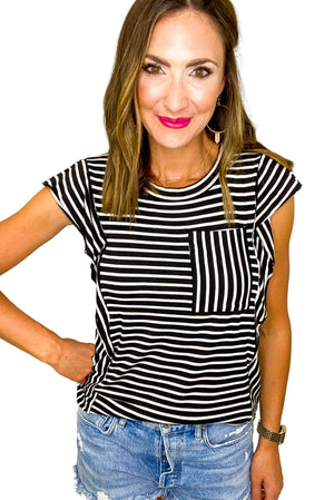 Black and White Stripe Extended Trim Top *FINAL SALE*