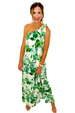 Ivory Palm One Tie Shoulder Maxi Dress