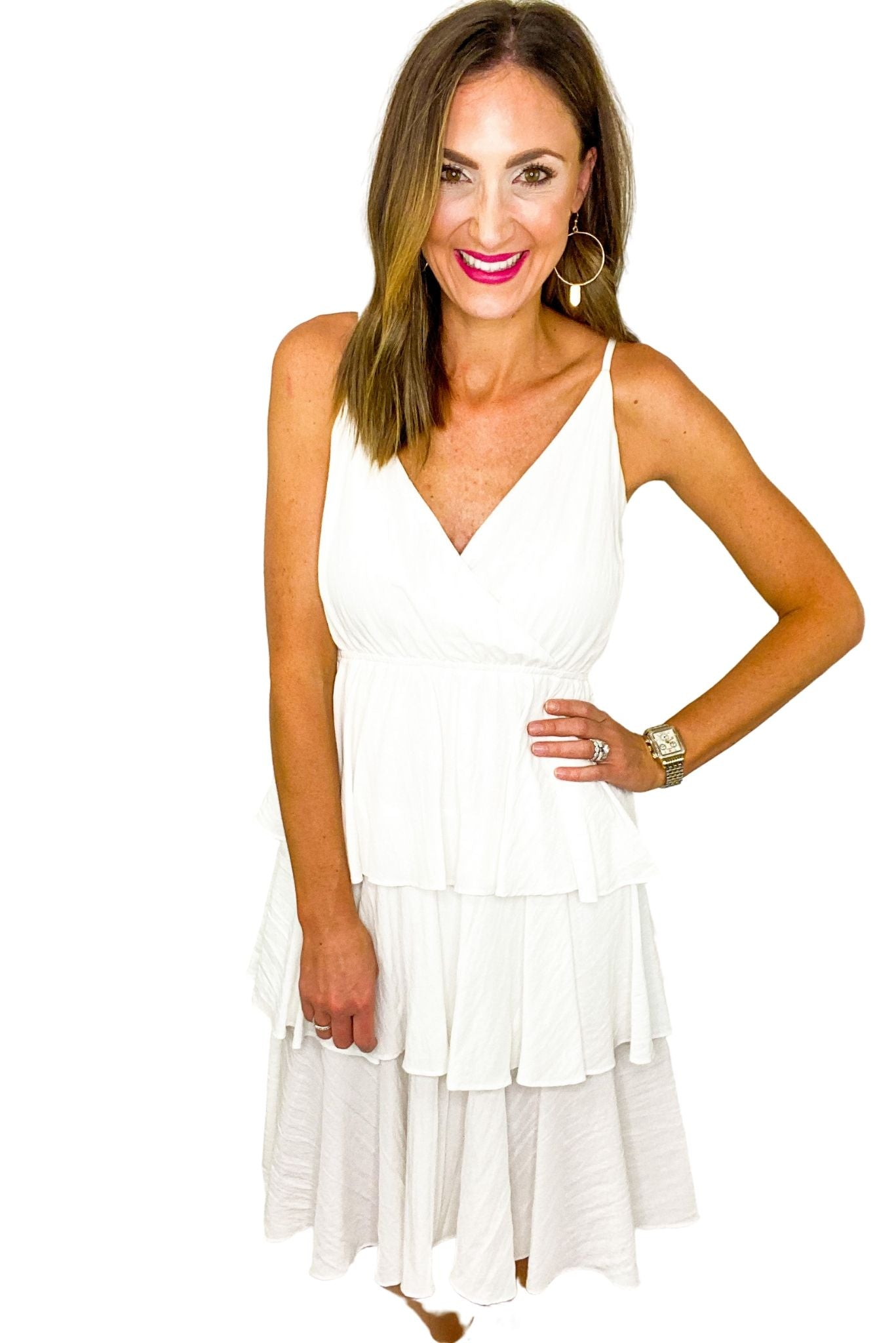 White Tiered Strappy Dress *FINAL SALE*