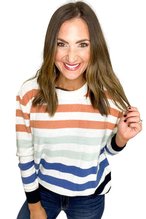 Load image into Gallery viewer, Round Neck Multicolor Striped Sweater