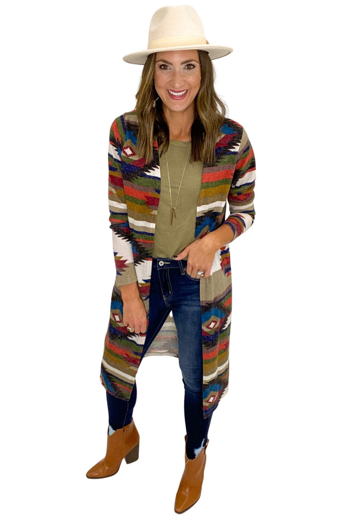 Aztec Print Long Cardigan