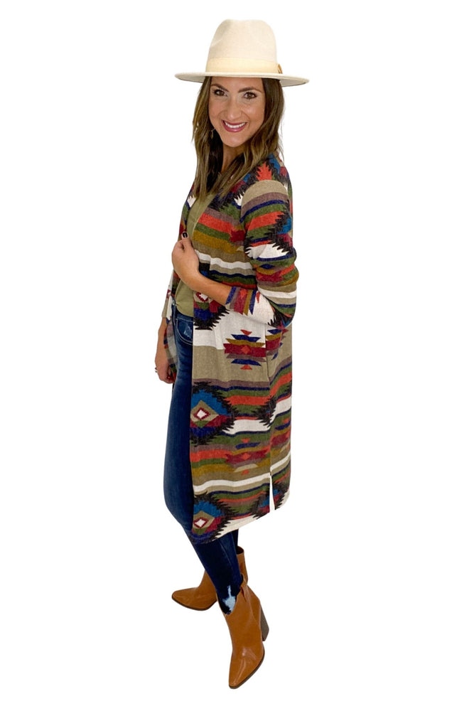 Load image into Gallery viewer, Aztec Print Long Cardigan