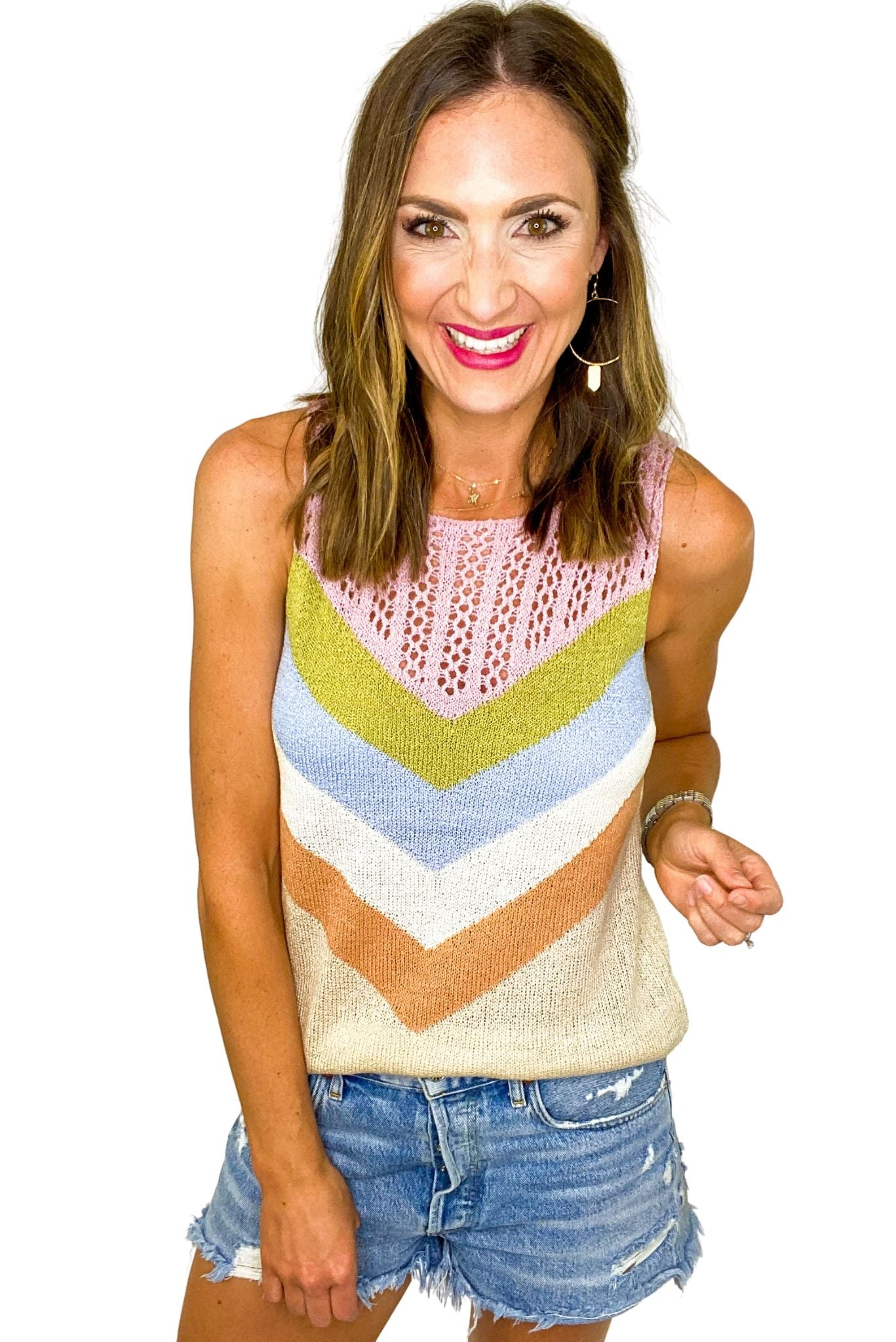 Multi Color Stripe Sweater Tank