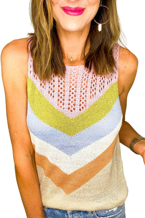 Load image into Gallery viewer, Multi Color Stripe Sweater Tank *FINAL SALE*