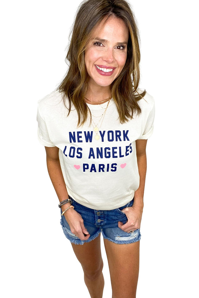 ivory big cities graphic tee, distressed denim shorts, affordable style, shop style your senses by mallory fitzsimmons