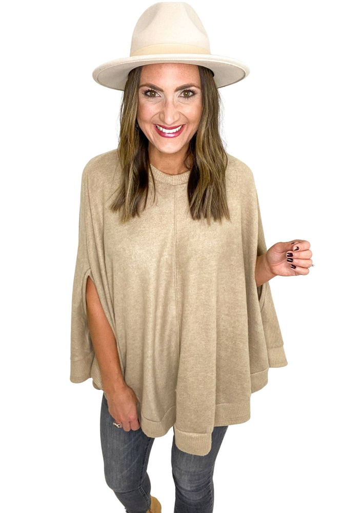 Taupe Brushed Poncho w/ Ribbed Hem  *FINAL SALE*