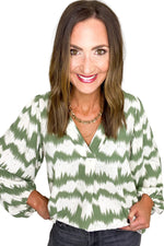 Sage Tie Dye Stripe Balloon Sleeve Top