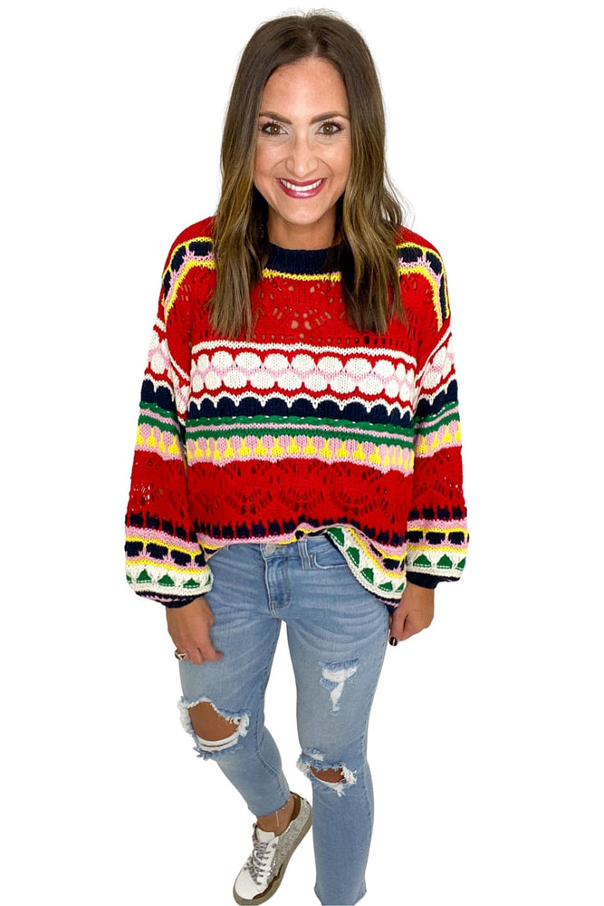 Load image into Gallery viewer, Crochet Multi Color Knit Sweater *FINAL SALE*