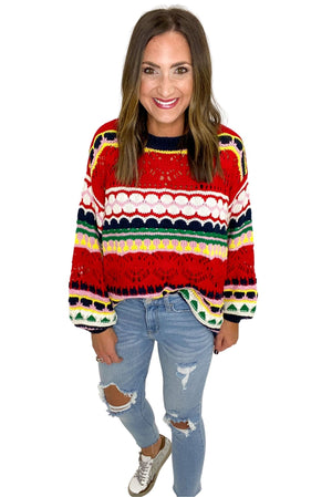 Crochet Multi Color Knit Sweater *FINAL SALE*