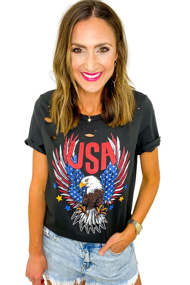 Distressed USA Eagle Graphic Tee