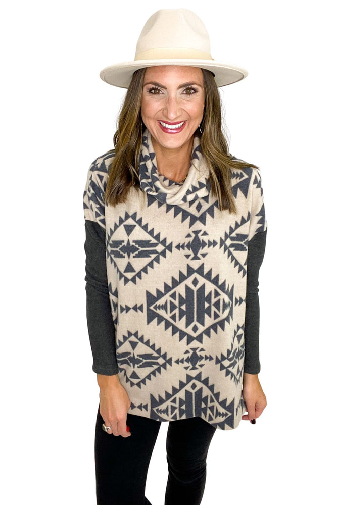 Brushed Aztec Print Cowl Neck Top *FINAL SALE*