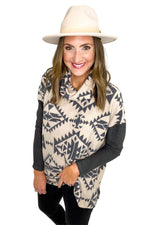 Brushed Aztec Print Cowl Neck Top