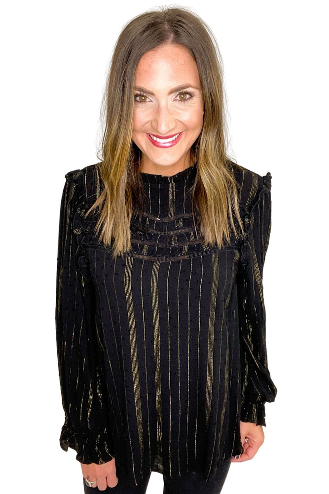 Load image into Gallery viewer, Black Long Sleeve Ruffle Top w/ Gold Metallic Threading  *FINAL SALE*