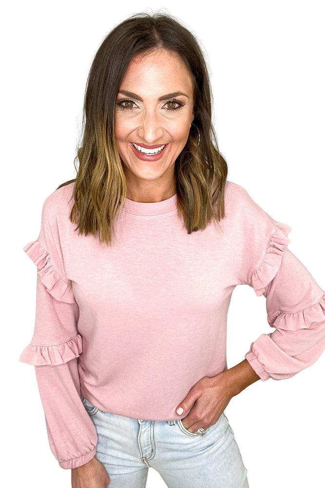 blush long sleeve double ruffle top, acid wash jeans, spring sweaters, affordable style, shop style your senses by mallory fitzsimmons