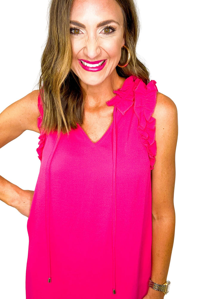 Hot Pink Ruffle Shoulder Dress w/ Neck Tie