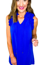 Royal Blue Ruffle Shoulder Dress w/ Neck Tie
