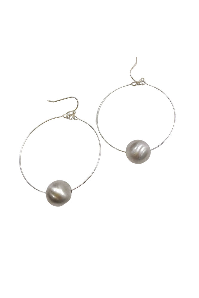 Silver Satin Hoops w/ Ball Charm