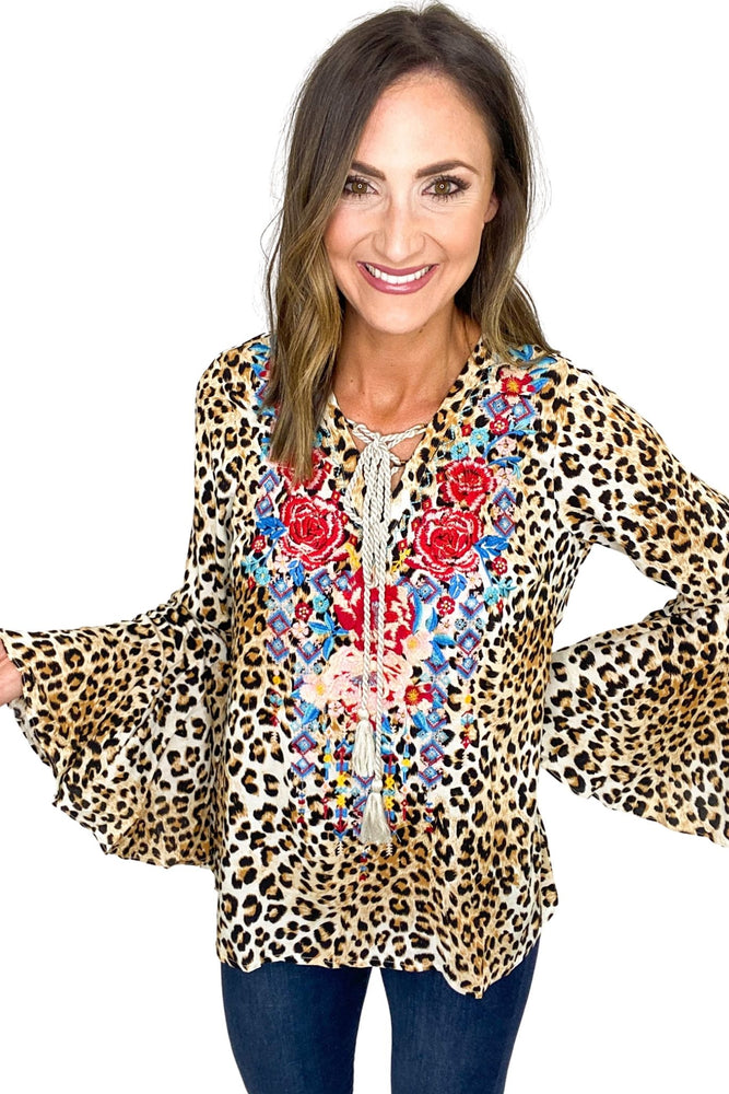 Animal Print Bell Sleeve Top w/ Embroidery and Tassels
