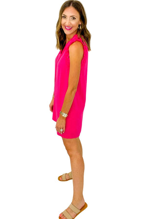 Hot Pink Ruffle Shoulder Dress w/ Neck Tie *FINAL SALE*
