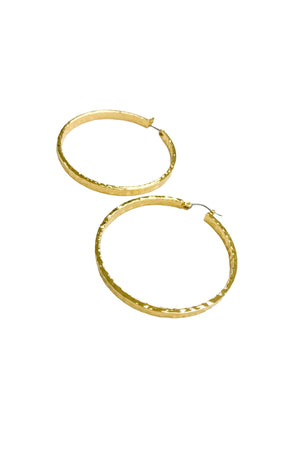 Load image into Gallery viewer, Hammered Shiny Gold Hoops